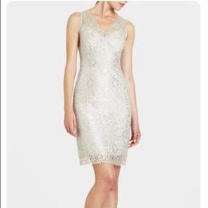 BCBGmaxazria silver lace sleeveless dress, 6